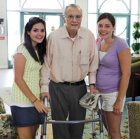 The Girls and Grandpa.  Grandpa (former State Senator) has lost 18 pounds since he broke his hip.