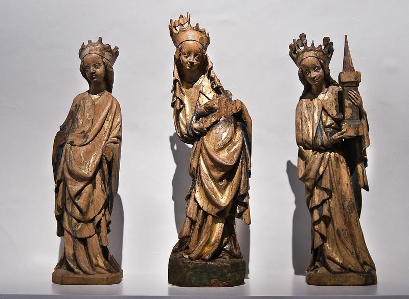 Katharina, Maria und Barbara; Anfang 15. Jhdt.; Laubholz, Reste von Fassung; aus Gersdorf bei Döbeln; Schlossbergmuseum Chemnitz
