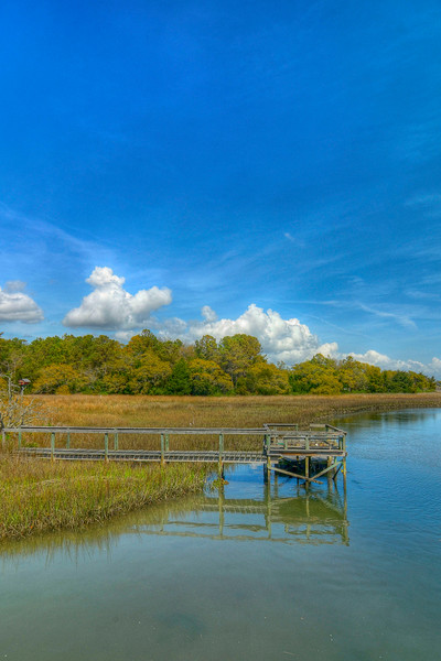 A boat dock on a marsh in Litchfield Beach, SC on Friday, March 23, 2012. Copyright 2012 Jason Barnette