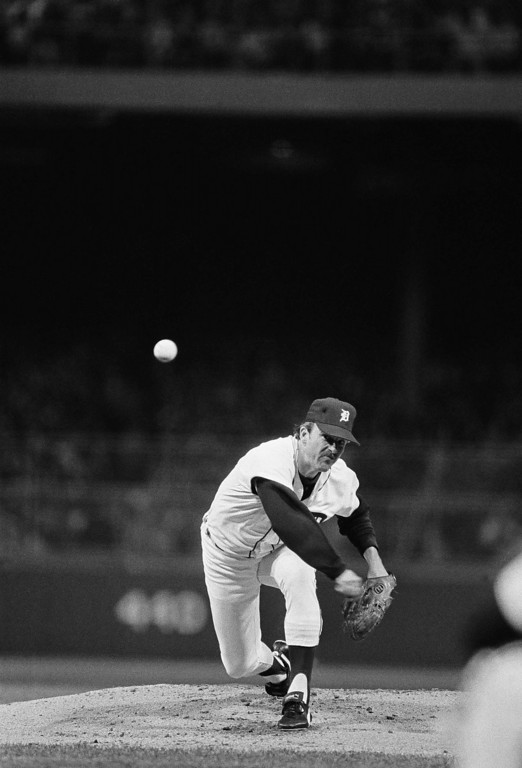 . Detroit pitcher Milt Wilcox fires one home during a playoff game with Kansas City, Friday, Oct. 5, 1984, Detroit, Mich. (AP Photo/Mark Duncan)