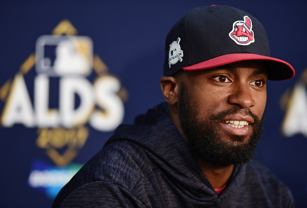 . Cleveland Indians\' Austin Jackson answers questions during a news conference before Game 2 of baseball\'s American League Division Series between the New York Yankees and the Cleveland Indians, Friday, Oct. 6, 2017, in Cleveland. (AP Photo/David Dermer)