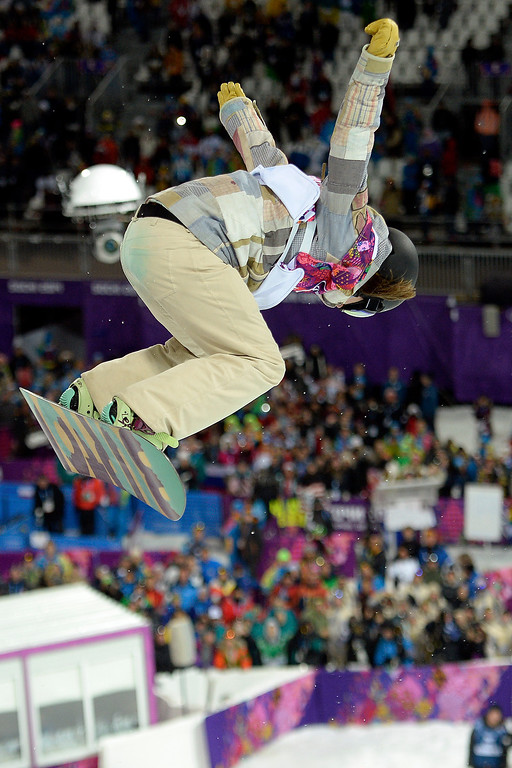 . KRASNAYA POLYANA, RUSSIA - FEBRUARY 12: during a women\'s snowboard halfpipe final at the Rosa Khutor Extreme Park. Sochi 2014 Winter Olympics on Wednesday, February 12, 2014. (Photo by AAron Ontiveroz/The Denver Post)