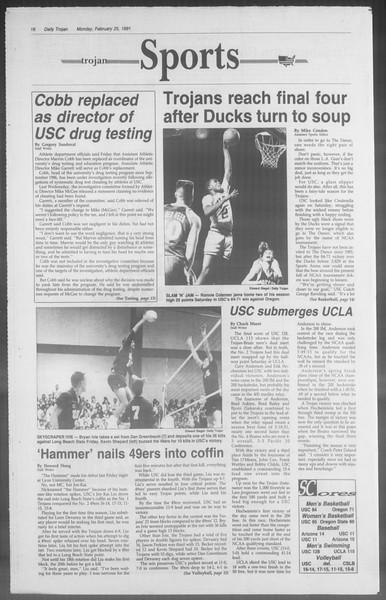 Daily Trojan, Vol. 114, No. 30, February 25, 1991