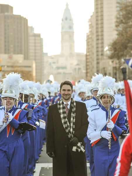 Associate Band Director Mr. Robert Krahn of the West Orange High School Marching Band in the 98th Annual Thanksgiving Day Parade. 11/23/17 Credit Thomas Lightbody
