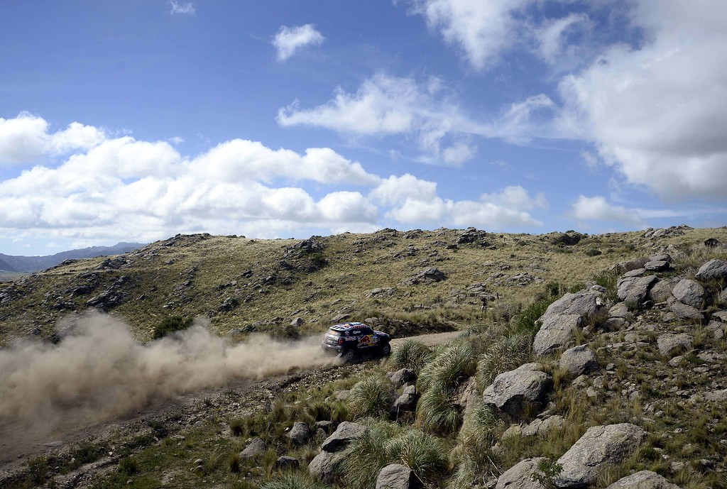 . Mini\'s driver Nasser Al-Attiyah of Qatar and co-driver Matthieu Baumel of France during the stage 2 of the Dakar 2015 between Carlos Paz and San Juan, Argentina, on January 5, 2015. FRANCK FIFE/AFP/Getty Images
