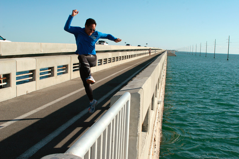 Runner at play during Miami to Key West relay race - Florida Keys.
