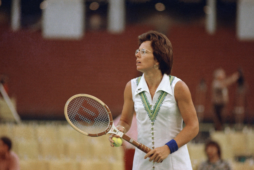 """. Billie Jean King tennis player in the \""""Battle of the Sexes\"""" tennis match with Bobby Riggs, the 55-year-old veteran, at the Houston Astrodome in Houston, Texas on Sept. 20, 1973. (AP Photo)"""