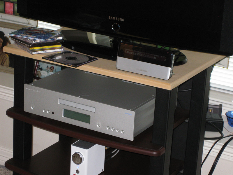 A closeup of the SB3, the Cambridge player, and the Virtue One. I bought the Cambridge specifically because of its digital in connectors, and the SB3 sounds much better through the Cambridge DAC. The interconnects are Signal Cable Silver Resolution.
