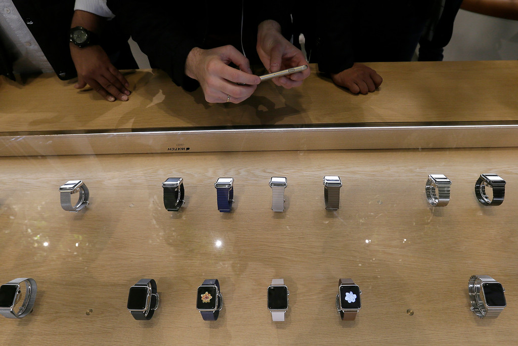 . Apple Watches on display in a store on Oxford Street in London, Friday, April 10, 2015. The technology company\'s latest product is on display in the store ahead of its full release for sale on April 24. (AP Photo/Tim Ireland)