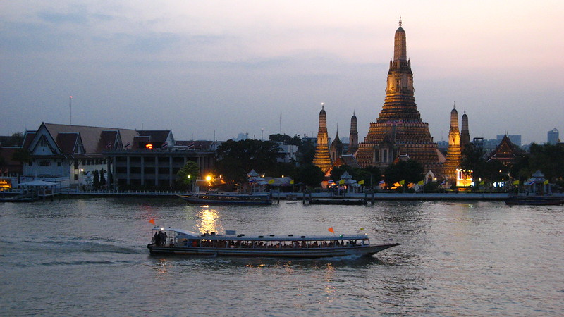 Wat Arun at dusk from Arun Residence's bar.