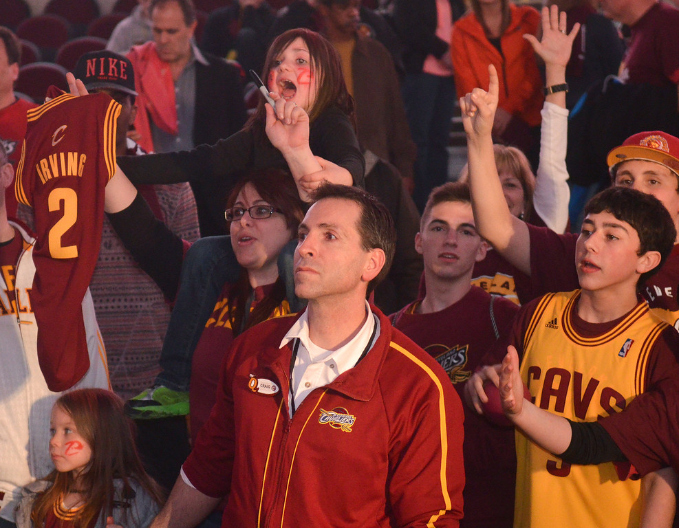 . Michael Allen Blair/Digital First Media Cavs\' fans yell for autographs after a game April 16 versus the Nets at Quicken Loans Arena.