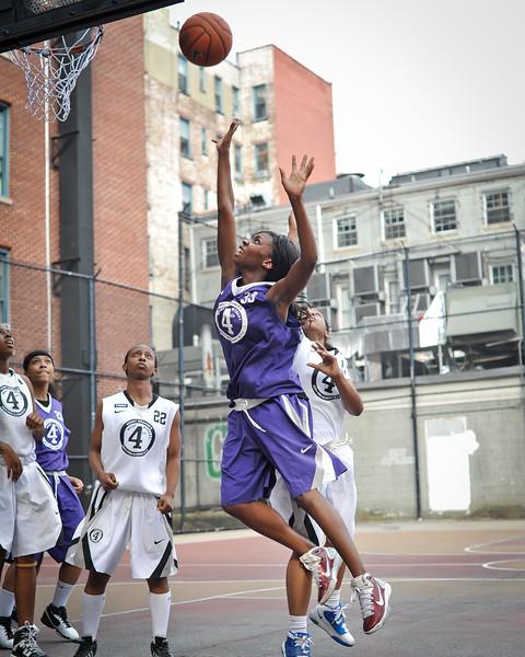 (West 4th St. Women's Pro-Classic NYC: Fastbreak (Purple) 63 v The Saints (White) 49, William F. Passannante Ballfield, New York, NY. July 2, 2011)
