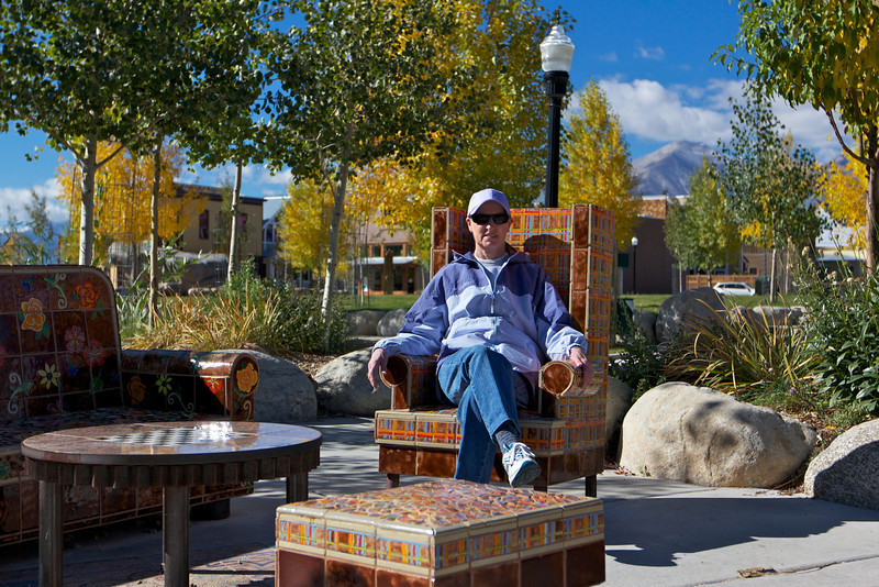 Donna on ceramic outdoor furniture in Buena Vista