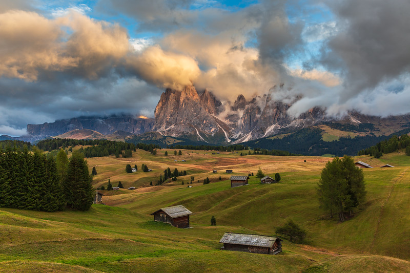 Late afternoon sun in Alpe di Siusi in the Dolomites