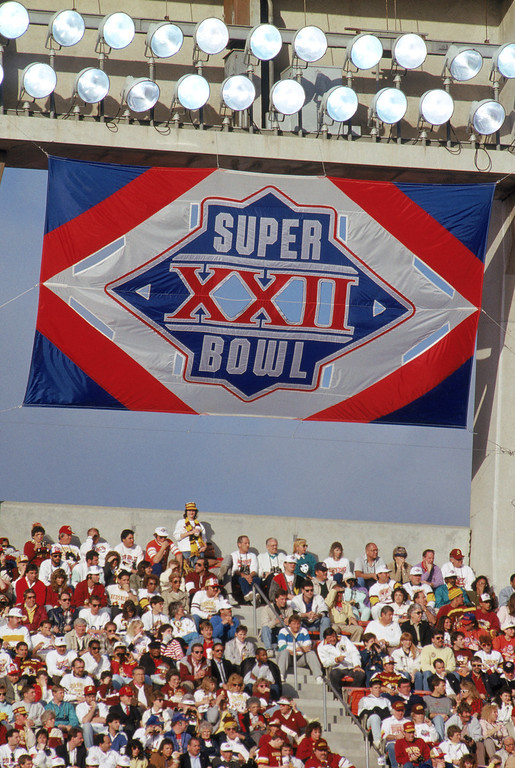 . A Super Bowl XXII banner hangs in the stadium as the Washington Redskins and the Denver Broncos face off in Super Bowl XXII in San Diego, California.   (Photo by George Rose/Getty Images)