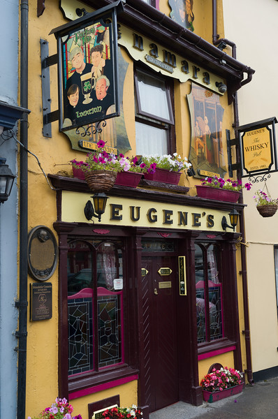 Low angle view of Eugene's Bar, Main Street, Ennistimon, County Clare, Ireland