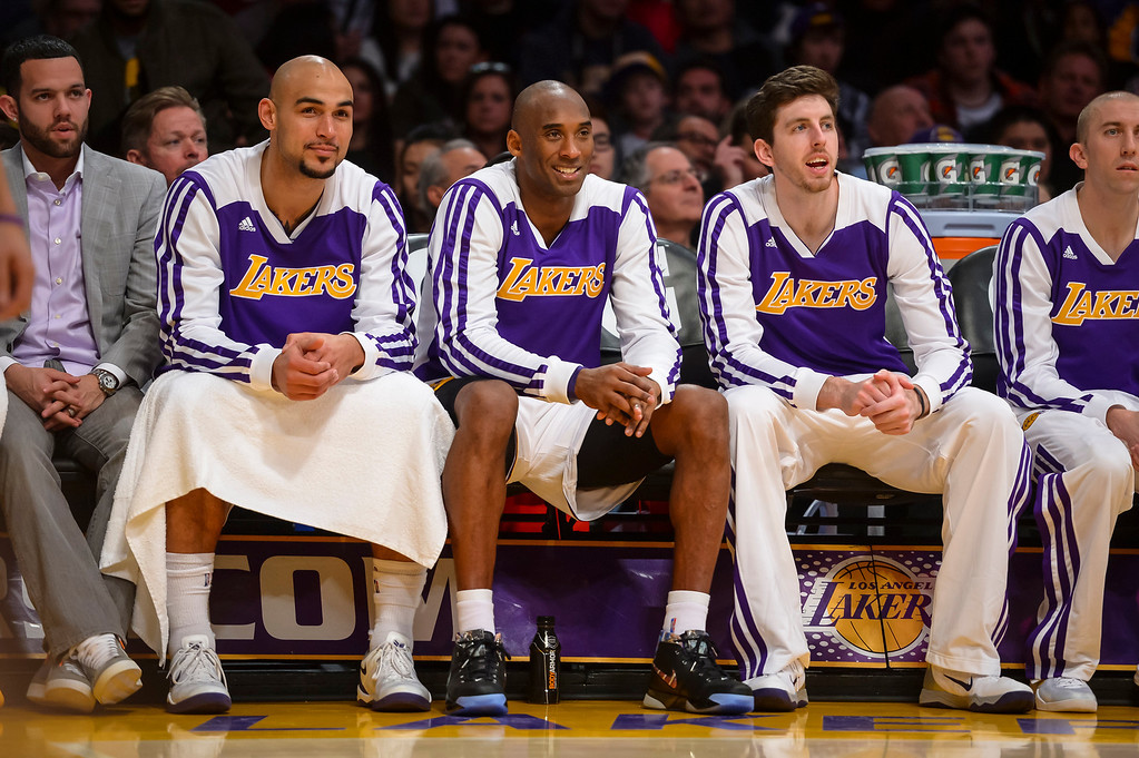 . Lakers� Kobe Bryant on the bench during first half action at Staples Center Sunday, December 8, 2013.   ( Photo by David Crane/Los Angeles Daily News )
