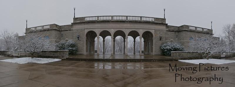 Ault Park Pavilion after a dusting of snow