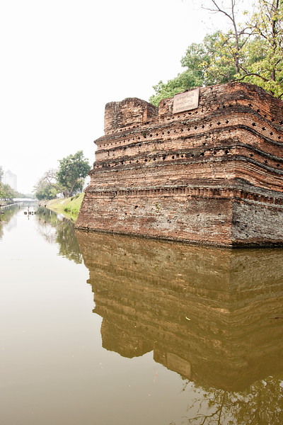 There's still a moat and bits of an old wall all the way around 'the old city' in Chiang Mai.