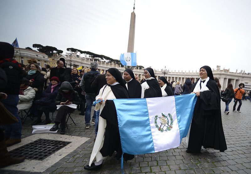 . Nuns arrive for pope\'s first Angelus prayer at St Peter\'s square on March 17, 2013 at the Vatican. Pope Francis begins his papacy in earnest today ahead of his formal inauguration mass, with a weekly prayer address used by previous pontiffs to comment on international affairs. The pope\'s first Angelus prayer, delivered from a window high above St Peter\'s Square, is a chance for the first Latin American pontiff to begin to sketch out a more global vision for the role of the Roman Catholic Church.  FILIPPO MONTEFORTE/AFP/Getty Images