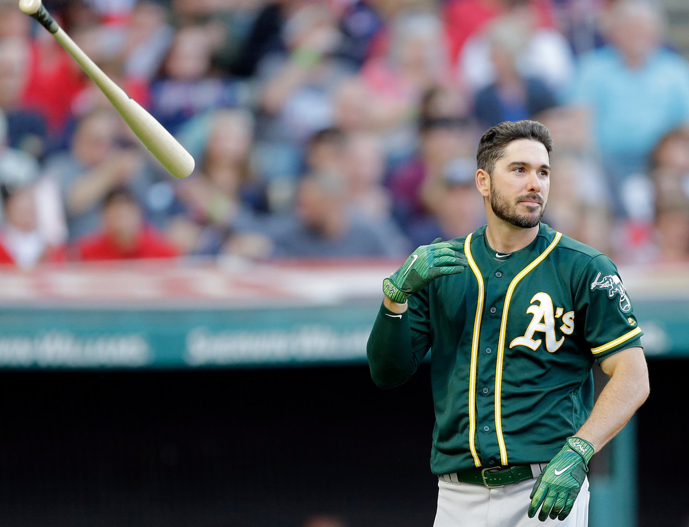 . Oakland Athletics\' Matt Joyce throws his bat after striking out in the seventh inning of a baseball game Cleveland Indians, Wednesday, May 31, 2017, in Cleveland. (AP Photo/Tony Dejak)