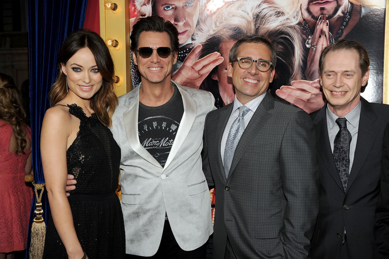 ". Actors Olivia Wilde, Jim Carrey, actor/producer Steve Carell, and actor Steve Buscemi attend the premiere of Warner Bros. Pictures\' ""The Incredible Burt Wonderstone\"" at TCL Chinese Theatre on March 11, 2013 in Hollywood, California.  (Photo by Kevin Winter/Getty Images)"