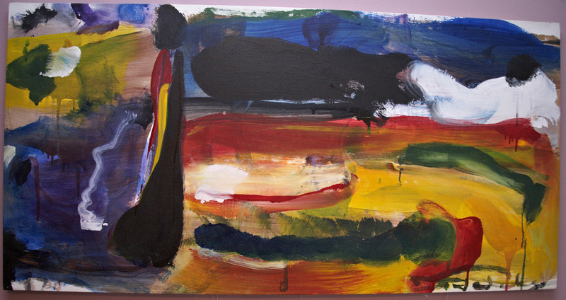 """1998, 24"""" x 48"""". Lady and The Lake, Acrylic on canvas."""