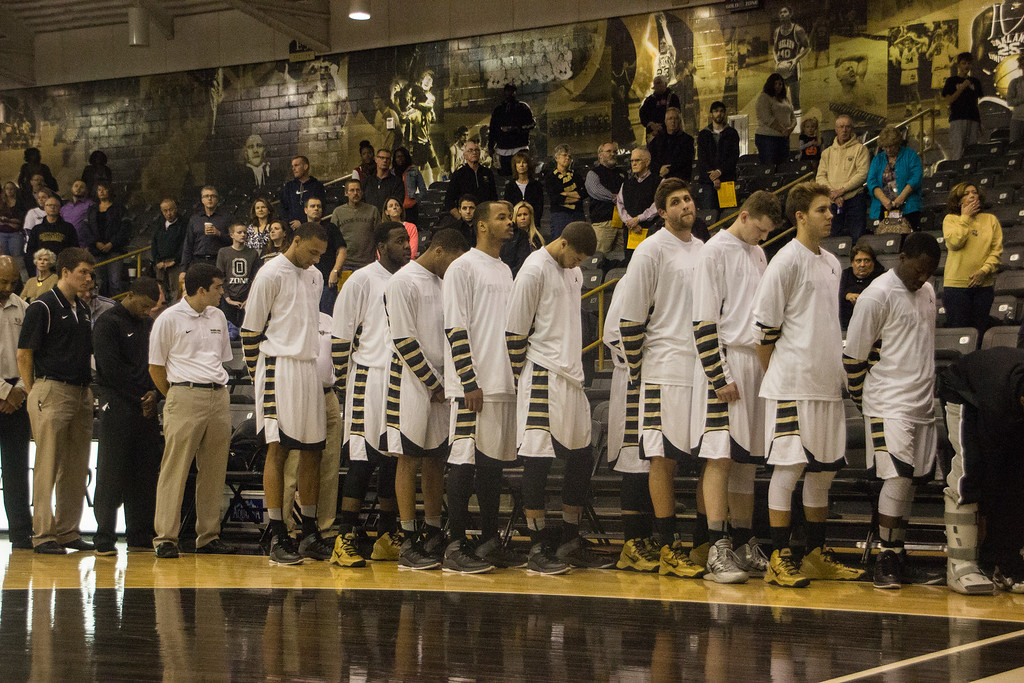 . The Oakland University men\'s basketball team has a moment of silence in honor of Hailey Brouillet, the OU sophomore killed in a car accident last Thursday. Photo taken Tuesday, Oct. 29, 2013 at the Athletics Center O\'rena. Photo by Dylan Dulberg