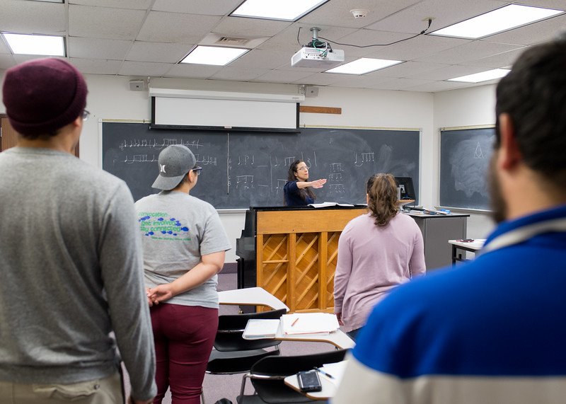 Professor Melendez leads the class in Aural Training II.