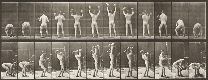 Man in pelvis cloth lifting weights (Animal Locomotion, 1887, plate 323)