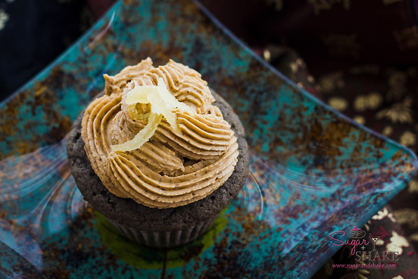Kuro Kuro Cupcake, complete with candied ginger garnish. © 2012 Sugar + Shake