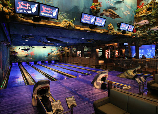 . With sharks and gators as ball returns, the planned bowling alley at the Bass Pro Shops entertainment center in San Jose would have an underwater theme. (Photo by Bass Pro Shops)