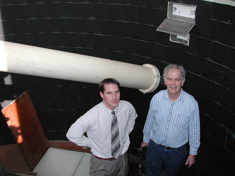 Jayson and Dave Smith at the objective end of the clasic telescope.