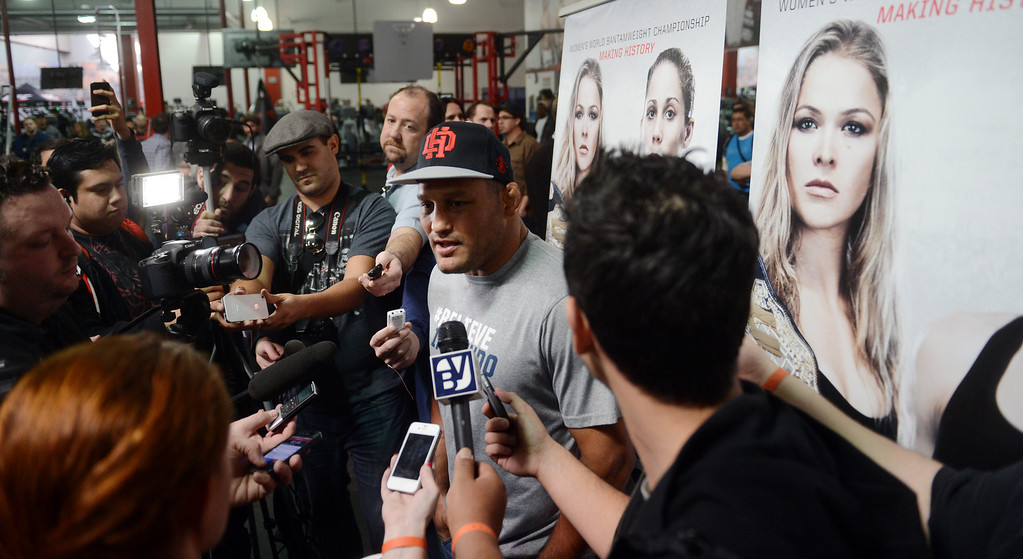 . UFC fighter Dan Henderson talks to the media during an open workout at the UFC Gym in Torrance, CA Wednesday, February 20, 2013. (Hans Gutknecht/Staff Photographer)