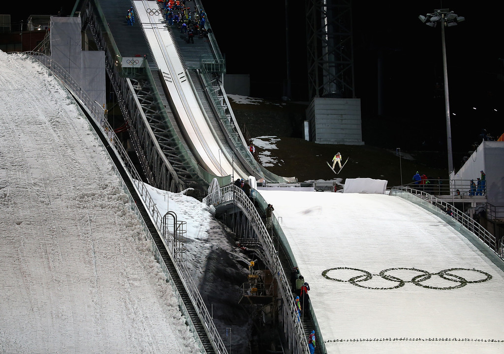 . SOCHI, RUSSIA - FEBRUARY 09:  A general view during the Men\'s Normal Hill Individual Ski Jumping Final on day 2 of the Sochi 2014 Winter Olympics at RusSki Gorki Jumping Center on February 9, 2014 in Sochi, Russia.  (Photo by Ryan Pierse/Getty Images)