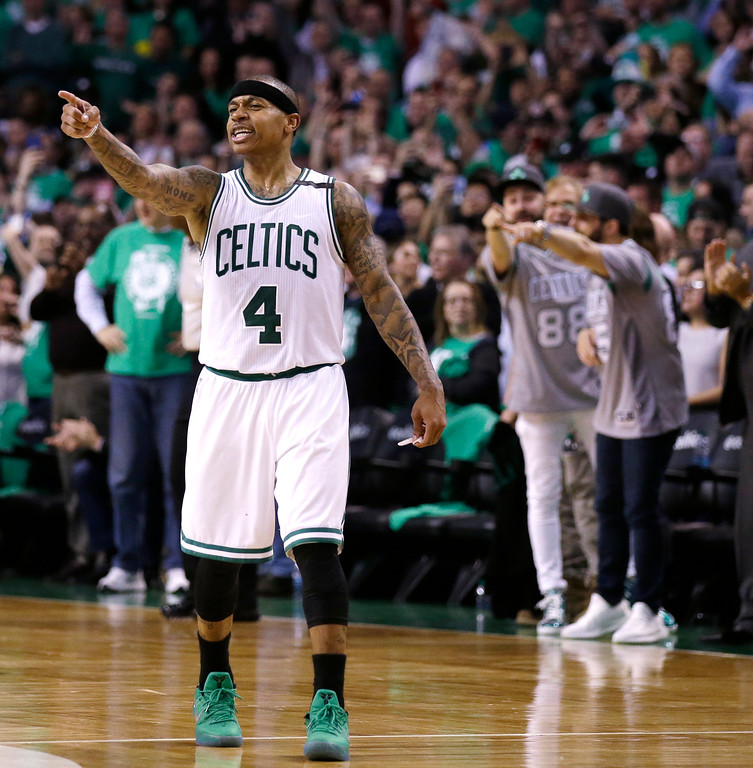 . Boston Celtics guard Isaiah Thomas (4) points as he celebrates during the second half of Game 7 of an NBA basketball second-round playoff series Boston, Monday, May 15, 2017. (AP Photo/Charles Krupa)