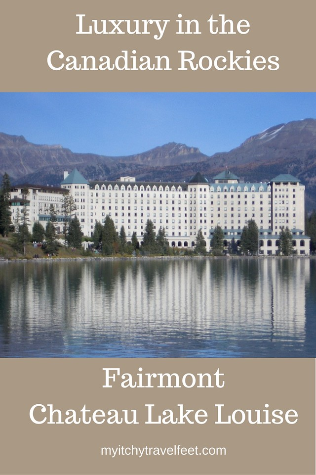 Discover luxury in the Canadian Rockies at the Fairmont Chateau Lake Louise. #luxurytravel #lakelouise #boomertravel #canadianrockies