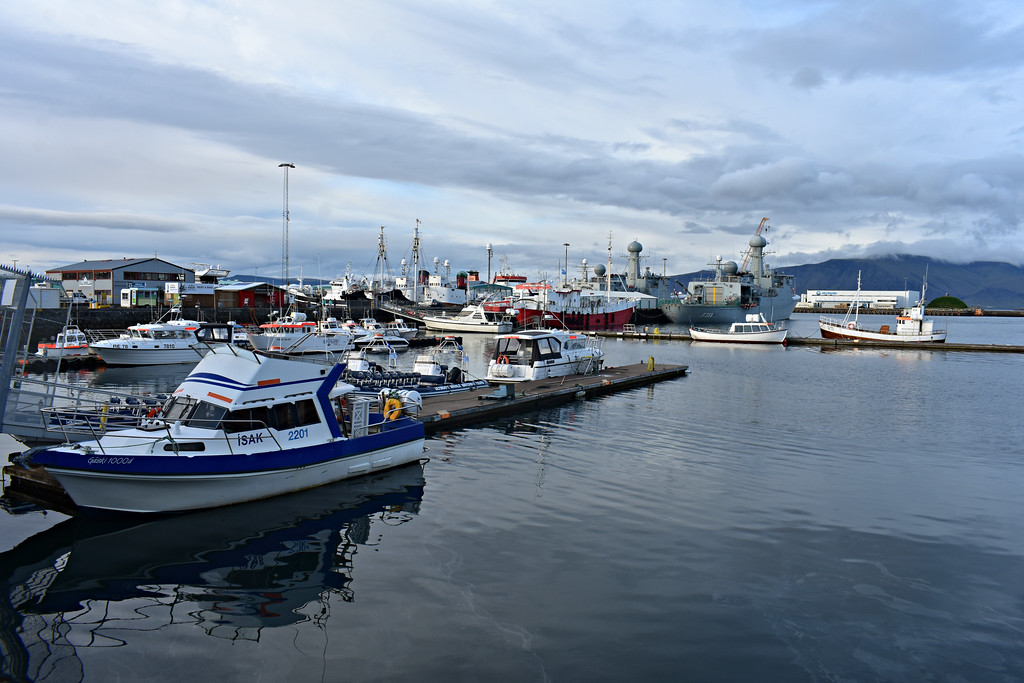 Boats in the harbour in Reykjavik Iceland