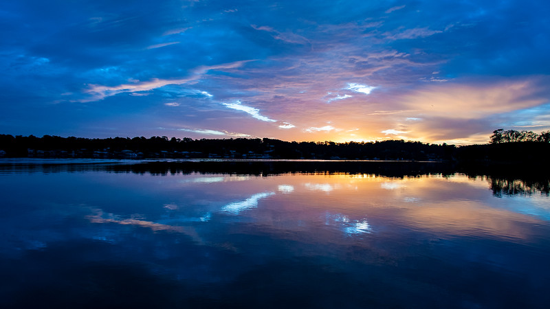 Vivid blue and orange Sky Sunrise Seascape.Australia.