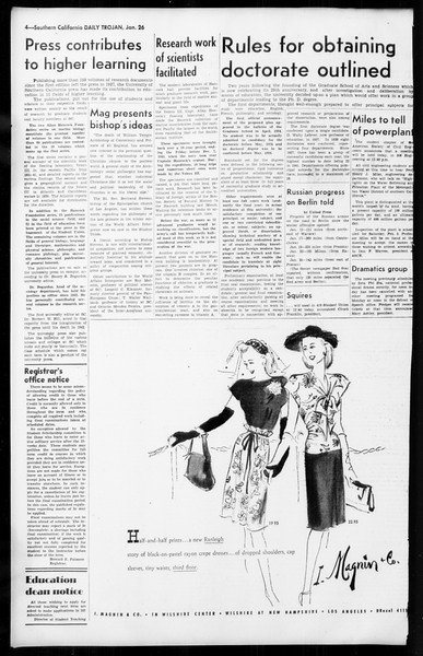 Daily Trojan, Vol. 36, No. 55, January 26, 1945