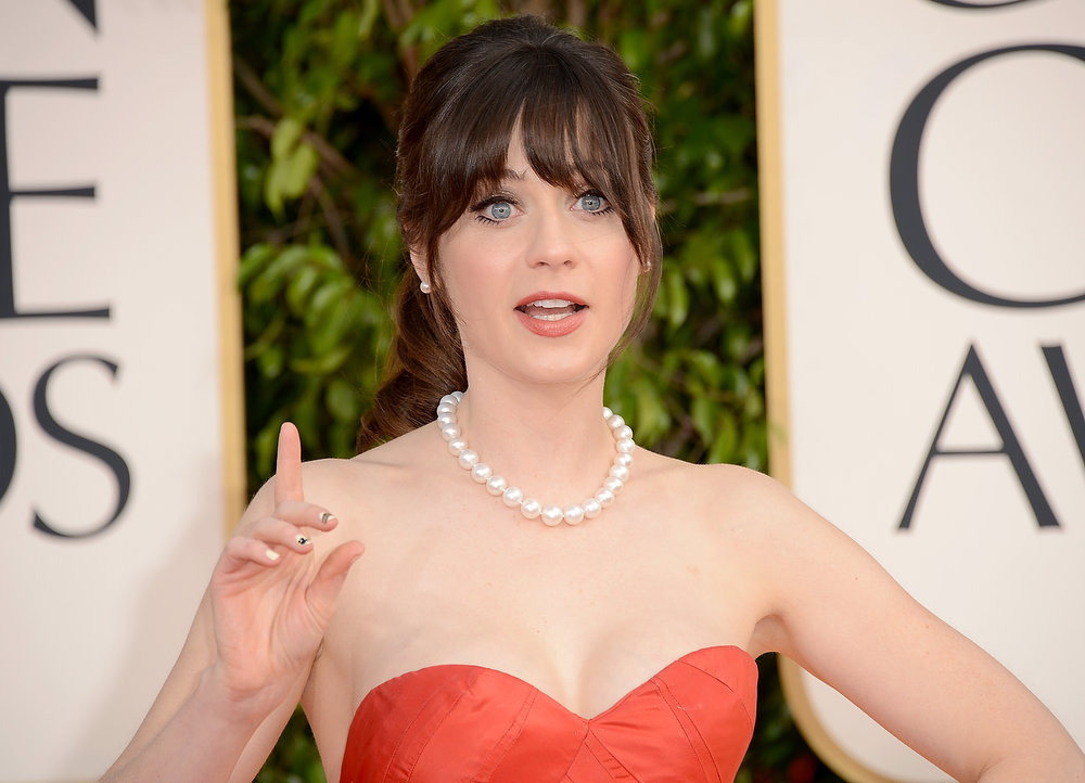 Description of . Actress Zooey Deschanel arrives at the 70th Annual Golden Globe Awards held at The Beverly Hilton Hotel on January 13, 2013 in Beverly Hills, California.  (Photo by Jason Merritt/Getty Images)
