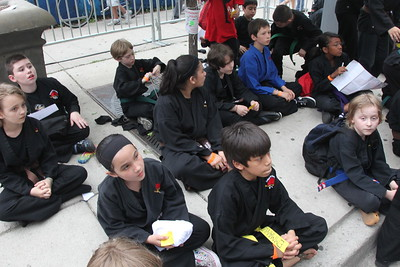 Kung Fu students await film stars Jaden Smith (son of Will Smith) and Jackie Chan to walk the red carpet for the Chicago screening of the Karate Kid at the AMC River East 21 in Chicago, IL,  USA on Wednesday 26, May 2010.
