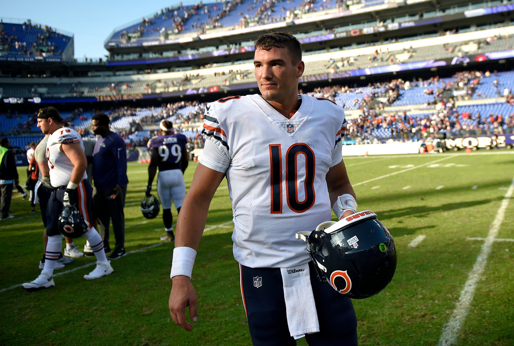 . Chicago Bears quarterback Mitchell Trubisky walks off the field after an NFL football game against the Baltimore Ravens, Sunday, Oct. 15, 2017, in Baltimore. Chicago won 27-24 in overtime. (AP Photo/Nick Wass)