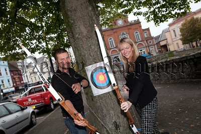 Newry Chamber of Commerce CEO Orla Jackson is pictured with Ian Cummins from 26 Extreme at the launch of Newry Company Challenge day to be held on the 10th October in Mourne Park Kilkeel. R1439012