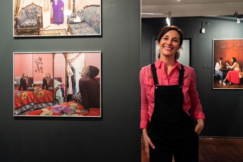 Amélie Losier  at the opening of exhibition 'von Angesicht zu Angesicht'- 'Face to Face' of Frank Gaudlitz & Amélie Losier at RosPhoto. Saint Petersburg, 2020.
