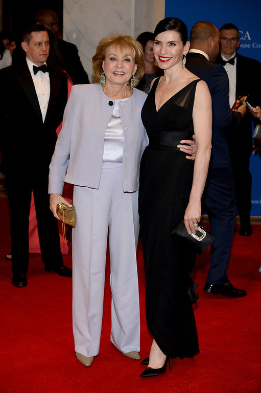 . Journalist Barbara Walters and actress Julianna Margulies attend the 100th Annual White House Correspondents\' Association Dinner at the Washington Hilton on May 3, 2014 in Washington, DC.  (Photo by Dimitrios Kambouris/Getty Images)