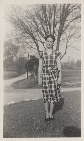 She was always stylish...darling outfits. Stringtown... Mom standing in her front lawn... road going north would take you to quaker church.