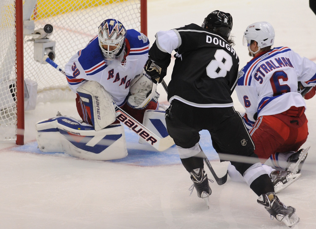 . Rangers goalie Henrik Lundqvist can not stop this shot by Kings Drew Doughty in the 2nd period. The Los Angeles Kings faced the New York Rangers in game 1 of the Stanley Cup Finals. Los Angeles, CA. 6/4/2014(Photo by John McCoy / Los Angeles Daily News)