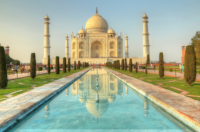 The Taj Mahal - an immense mausoleum of white marble, built between 1631 and 1648 by order of the Mughal emperor Shah Jahan in memory of his favorite wife, Mumtaz Mahal.