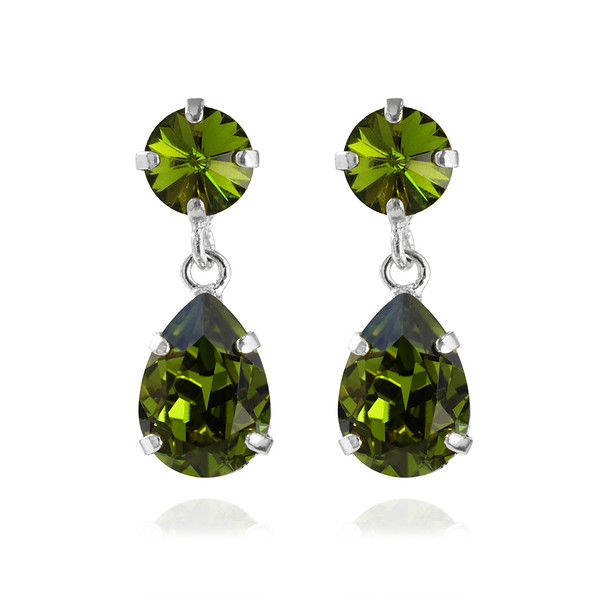 Mini Drop Earrings / Olivine Rhodium